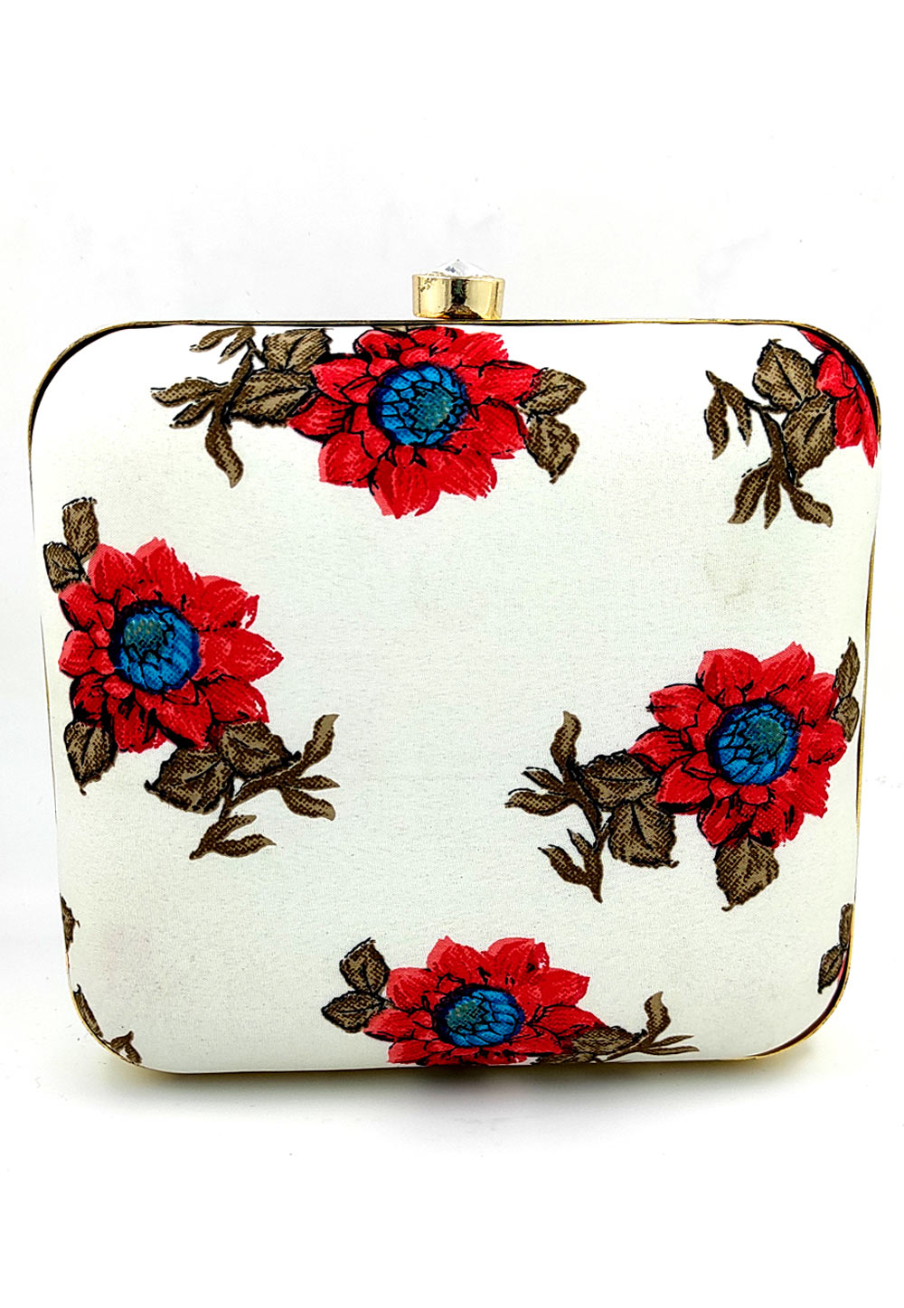 Off White Synthetic Printed Clutch 225660