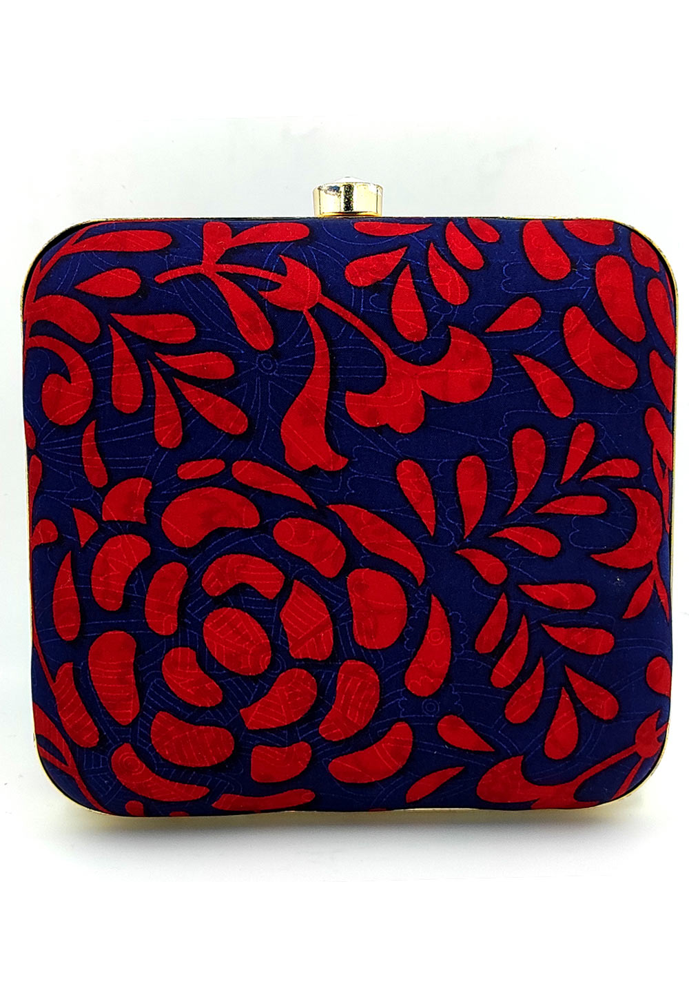 Blue Synthetic Printed Clutch 225662