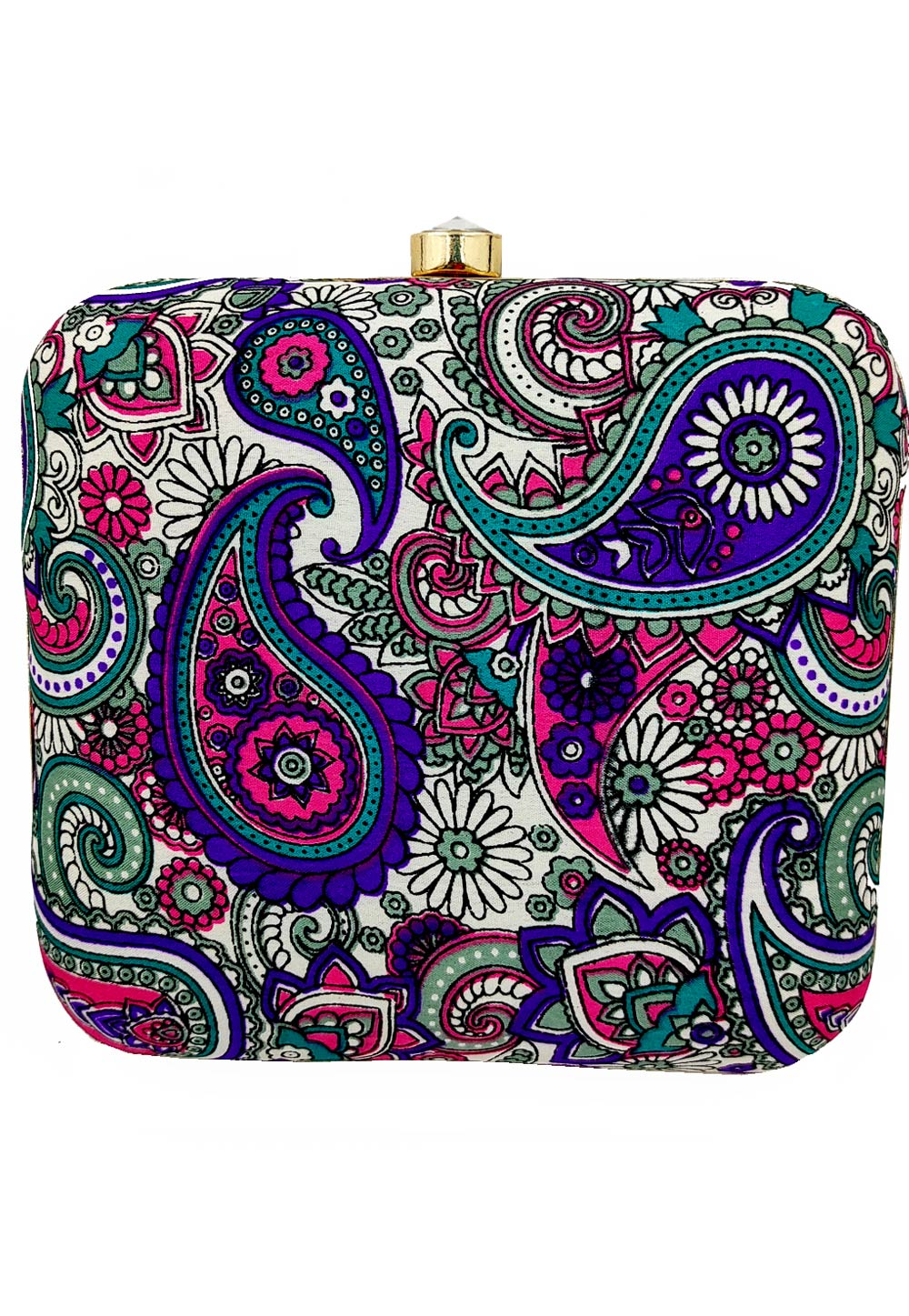 Blue Synthetic Printed Clutch 225664