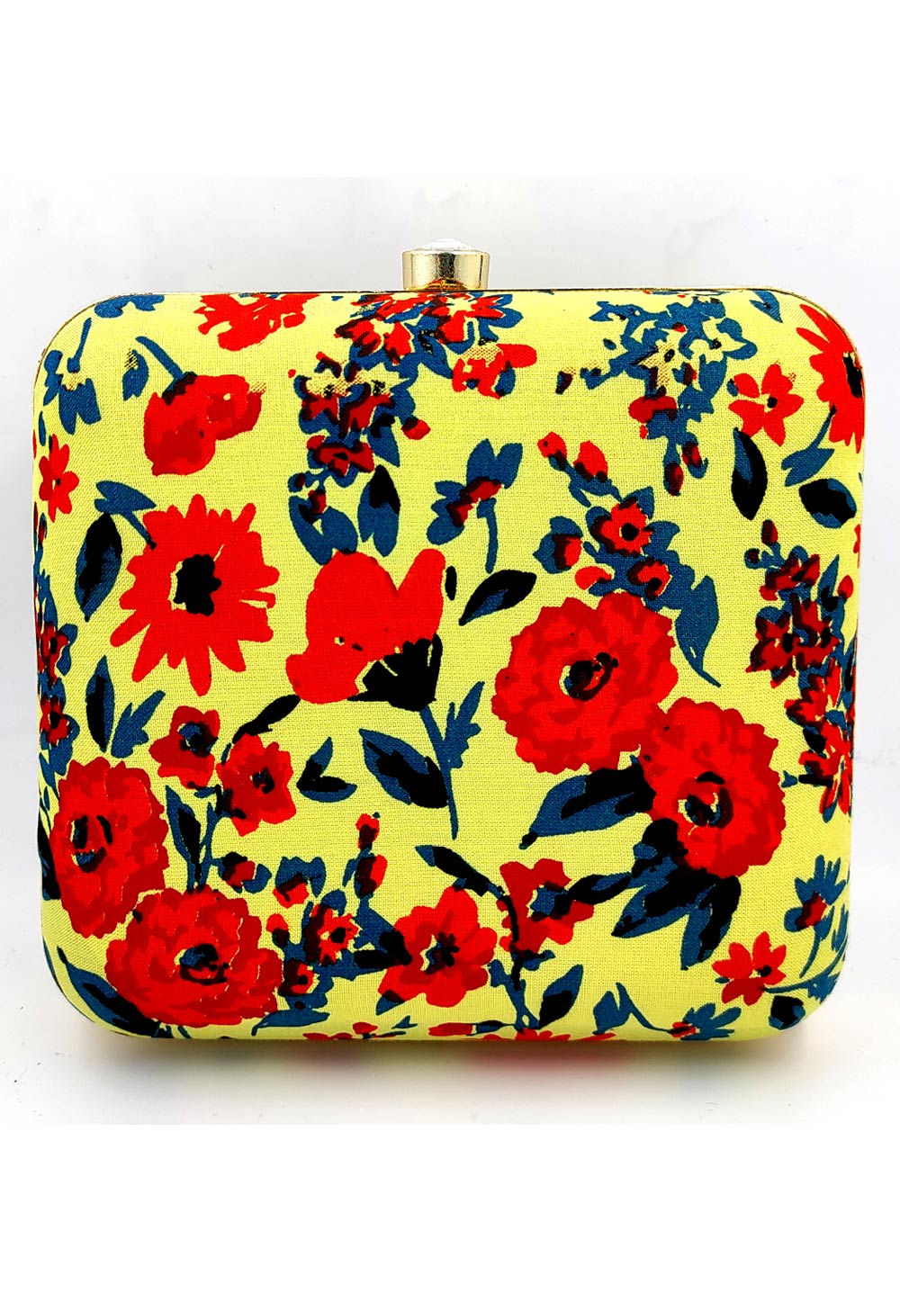 Yellow Synthetic Printed Clutch 225665