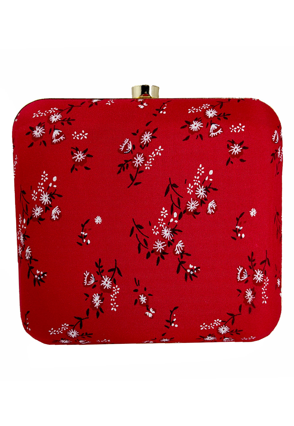 Red Synthetic Printed Clutch 225666