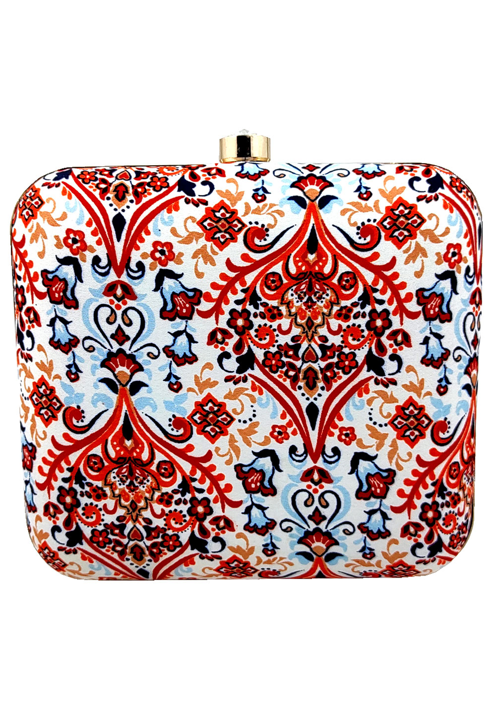 Off White Synthetic Printed Clutch 225667