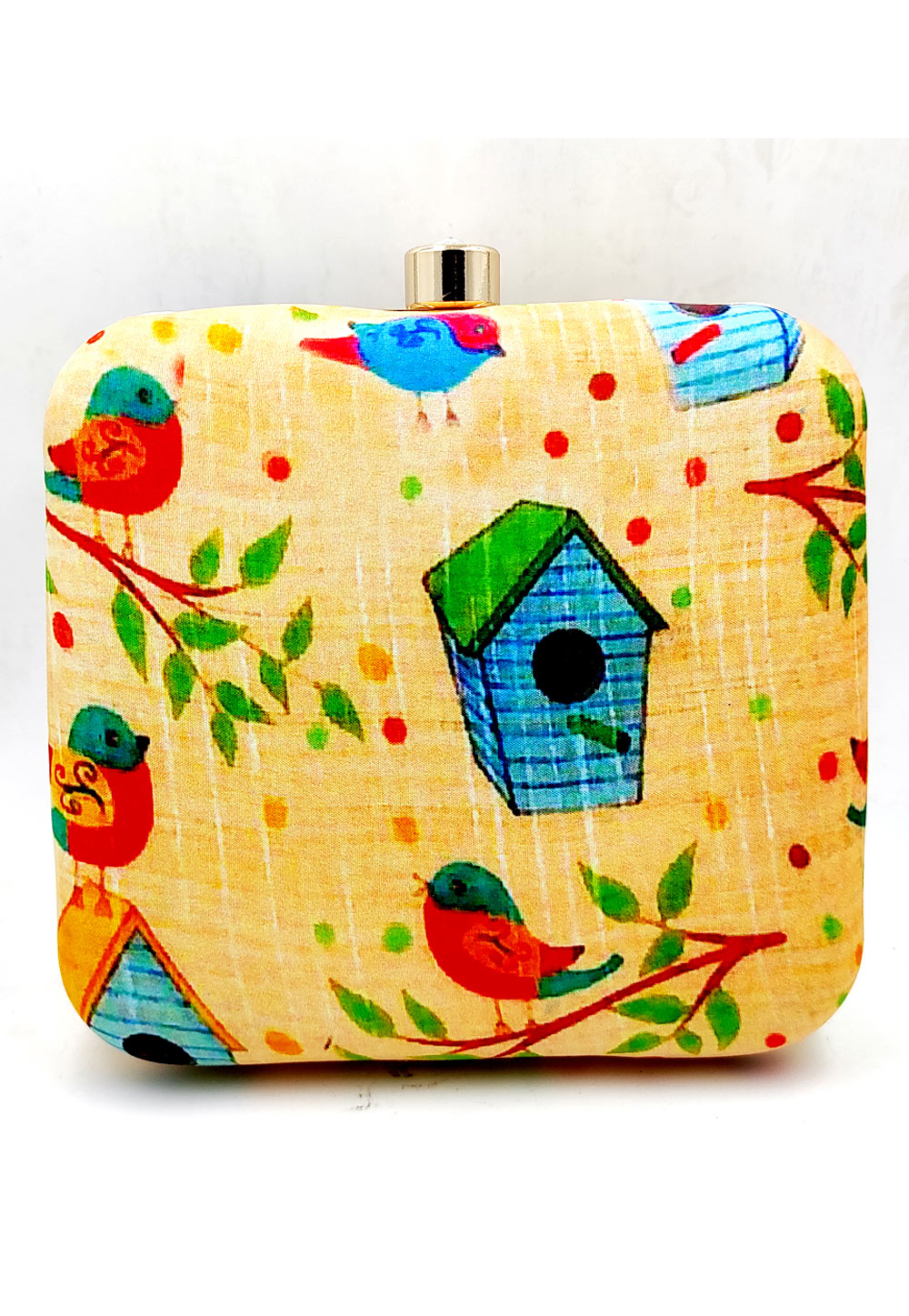 Yellow Synthetic Printed Clutch 225668