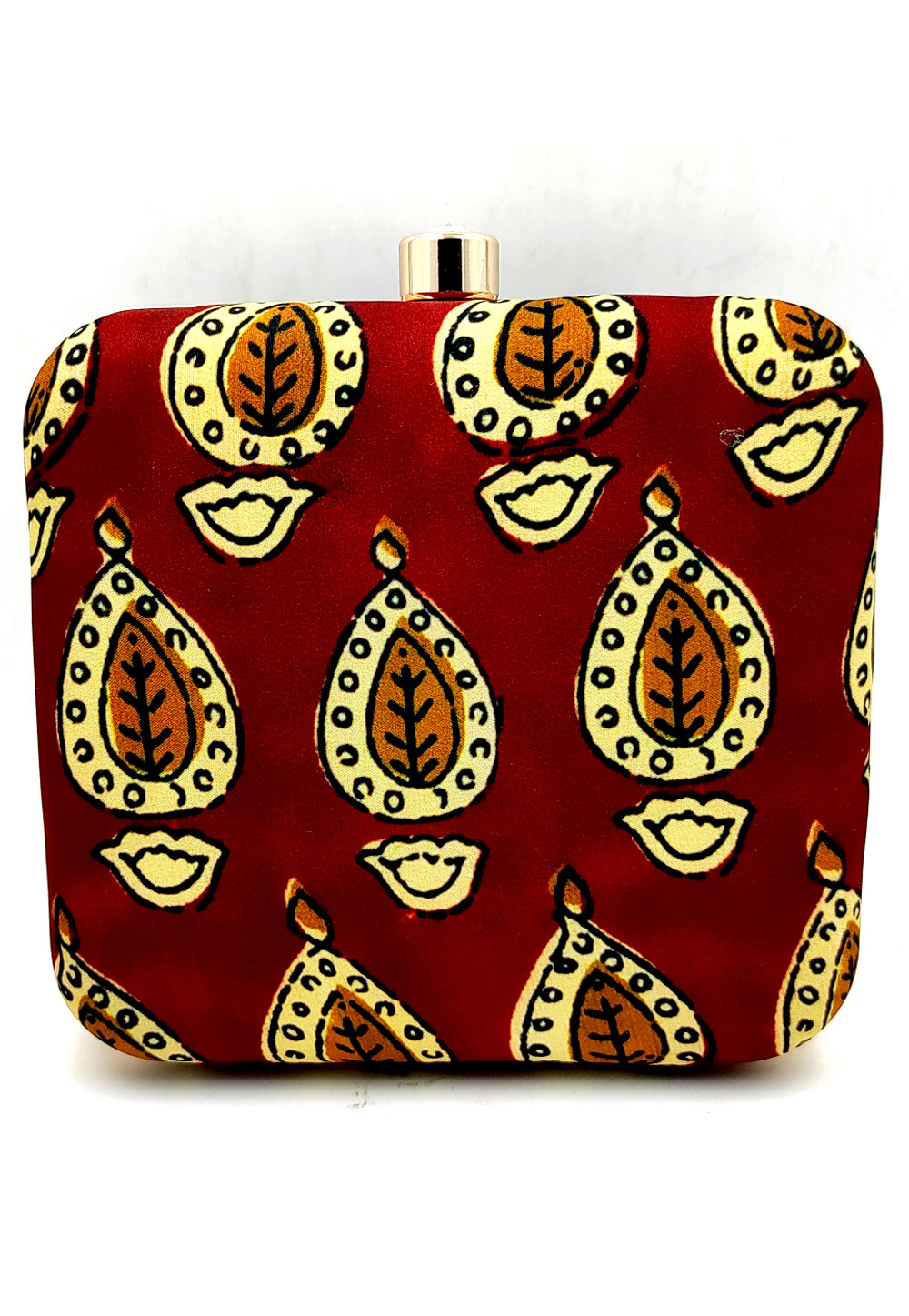 Maroon Synthetic Printed Clutch 225669