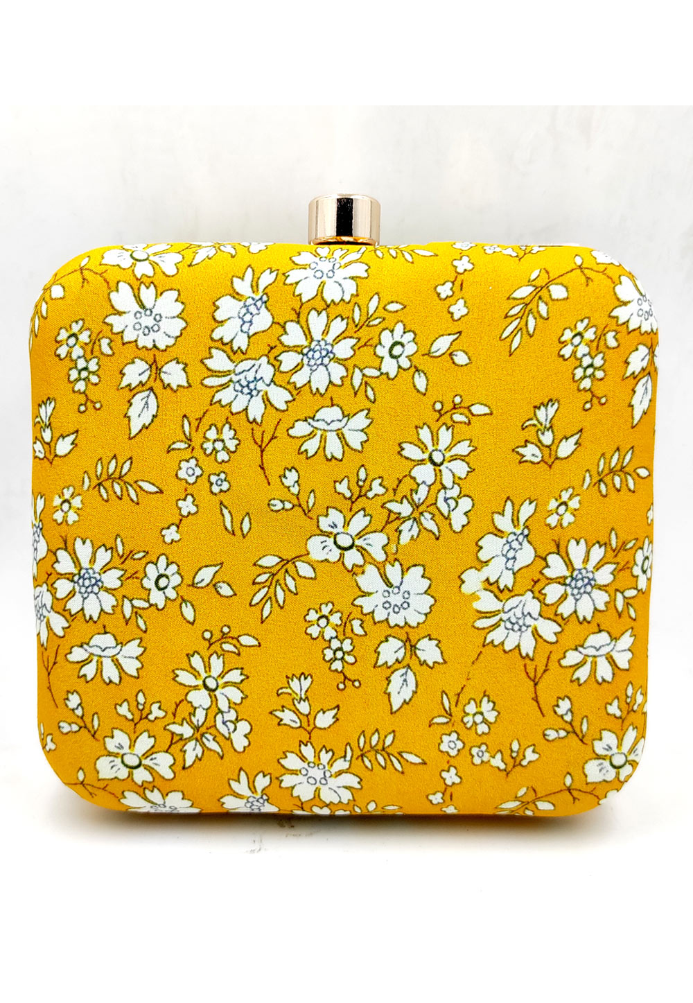 Yellow Synthetic Printed Clutch 225671