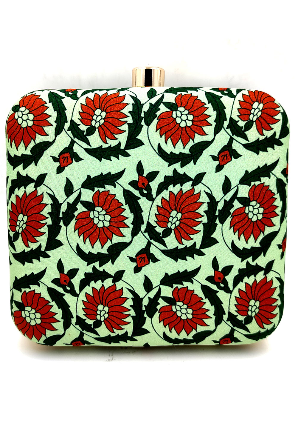 Light Green Synthetic Printed Clutch 225672