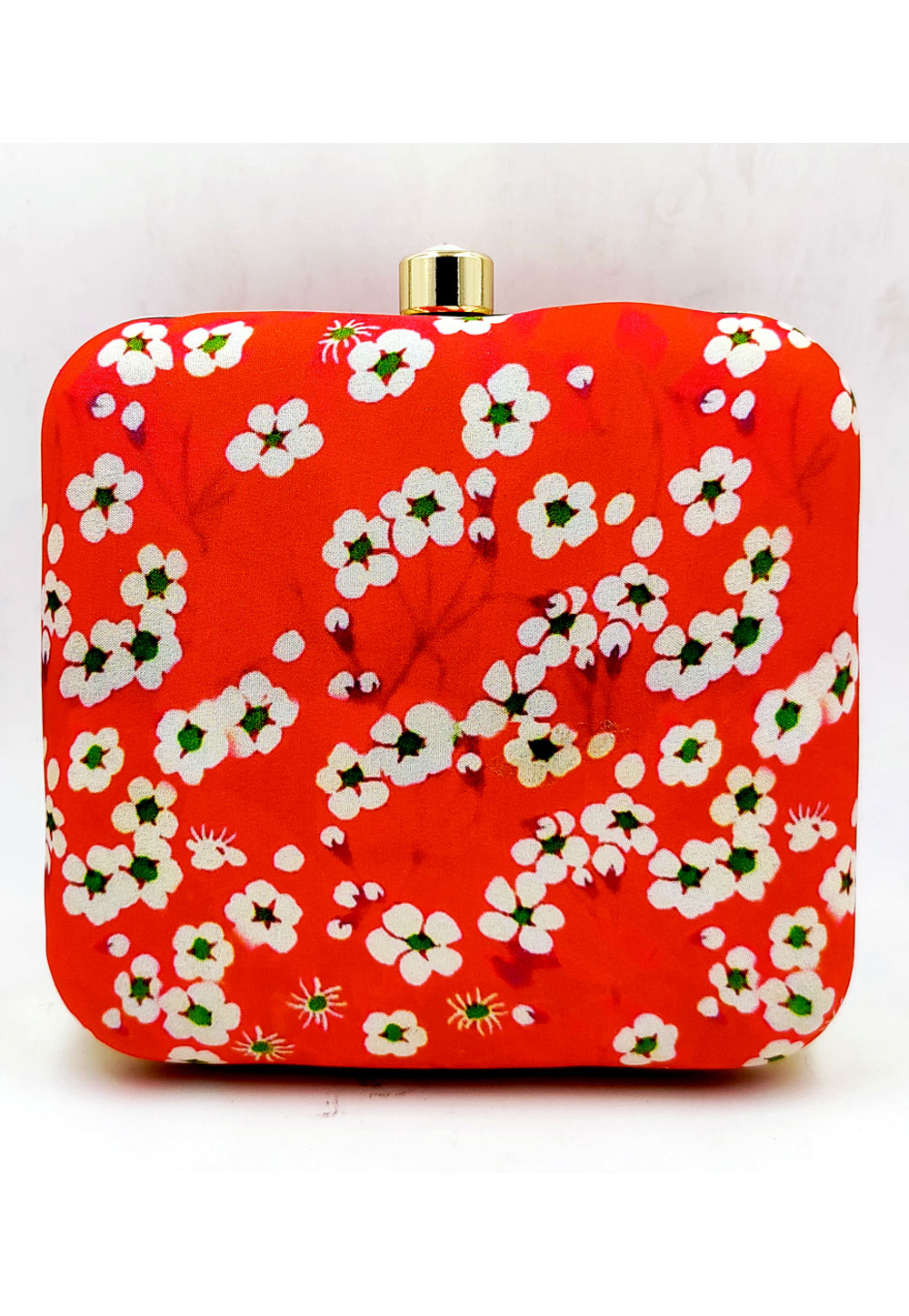 Red Synthetic Printed Clutch 225673