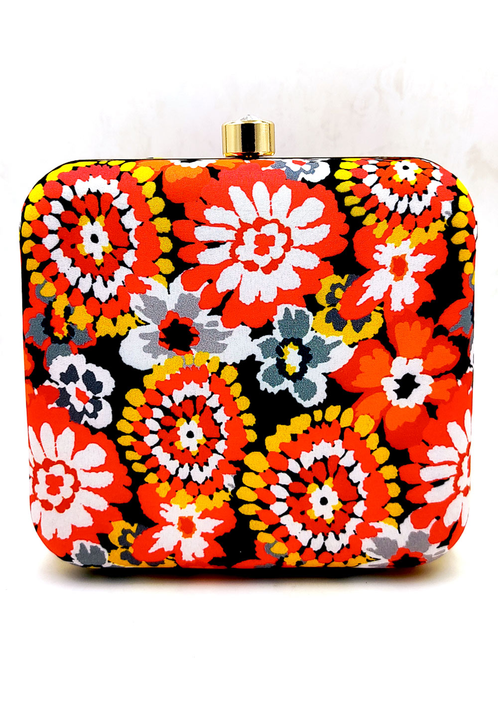 Red Synthetic Printed Clutch 225675