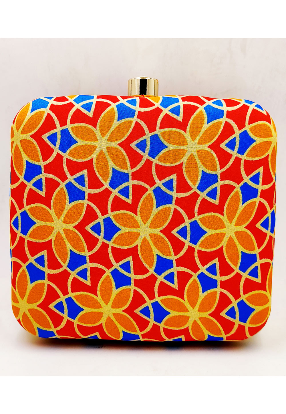 Red Synthetic Printed Clutch 225678