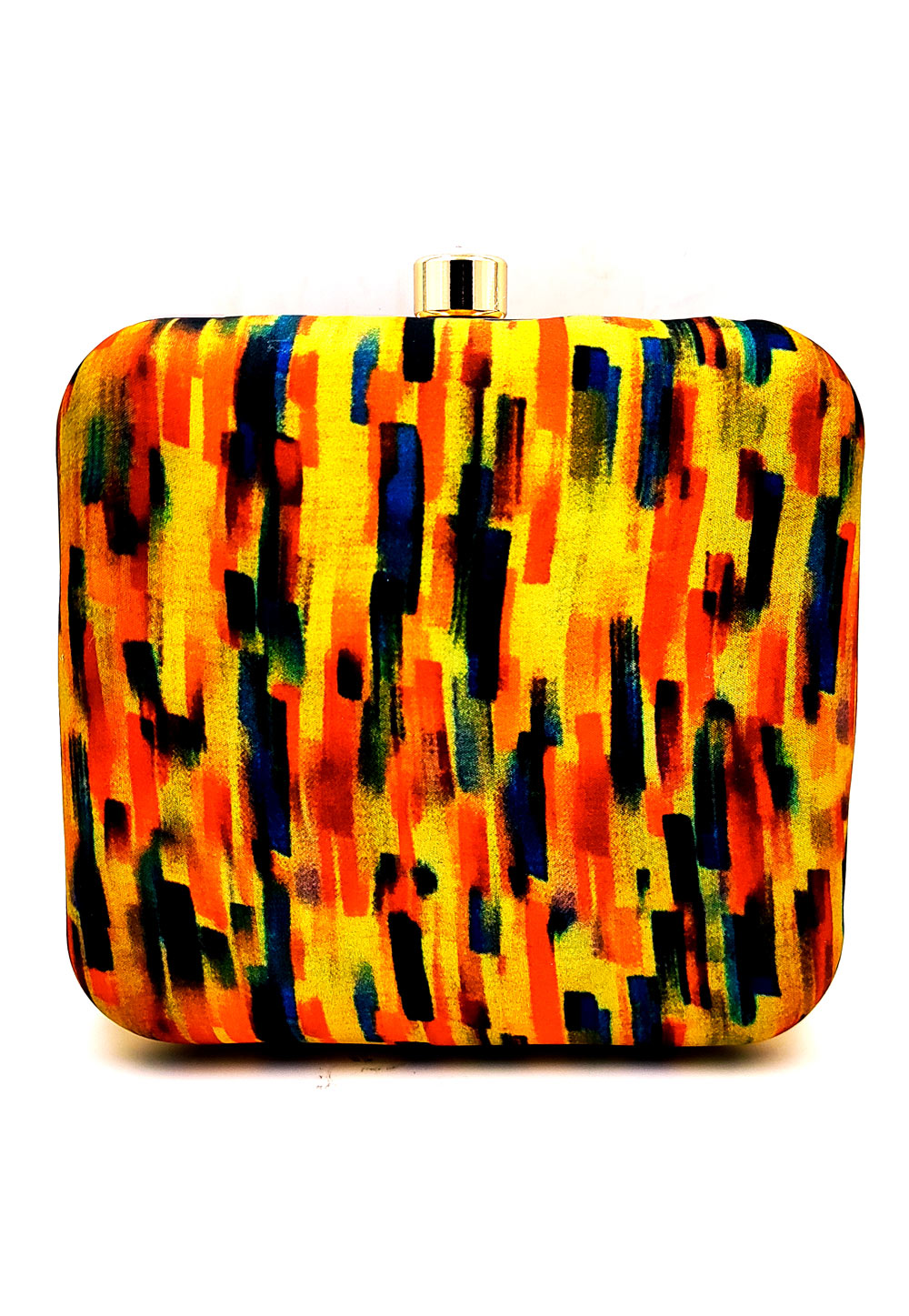 Yellow Synthetic Printed Clutch 225679