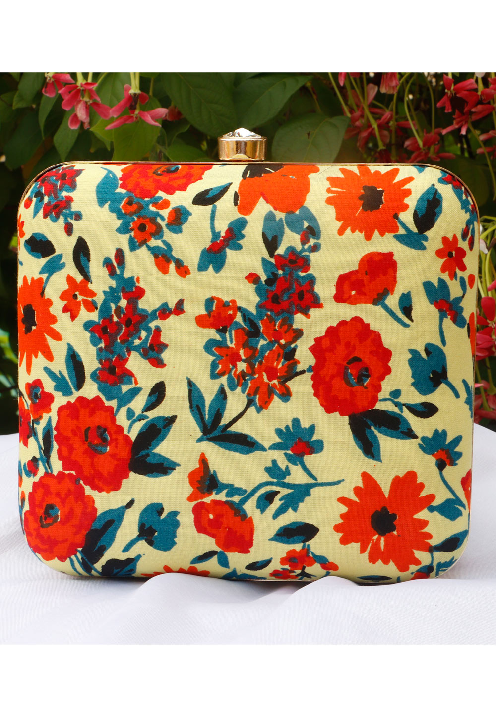 Yellow Synthetic Printed Clutch 225681