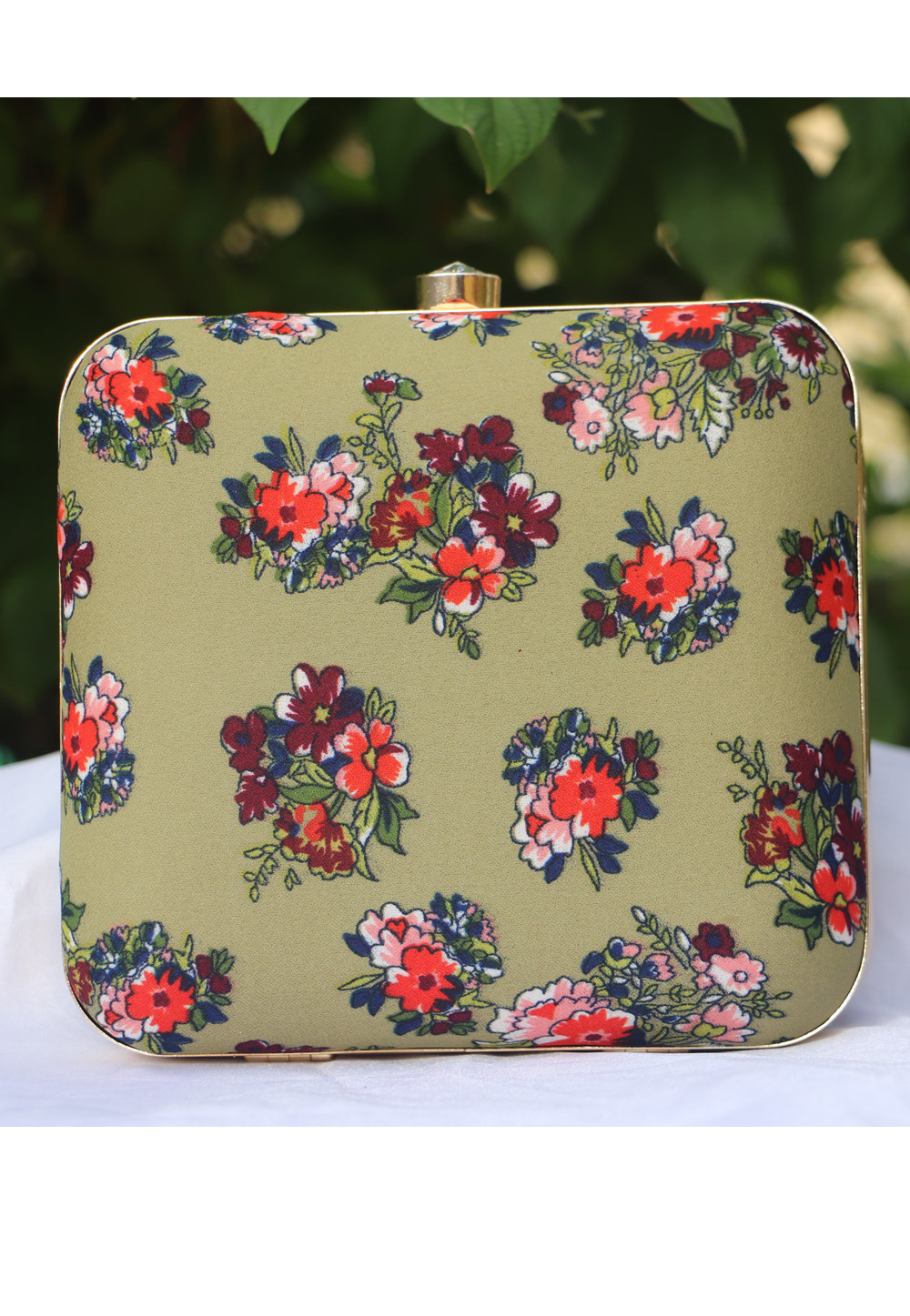 Light Green Synthetic Printed Clutch 225685