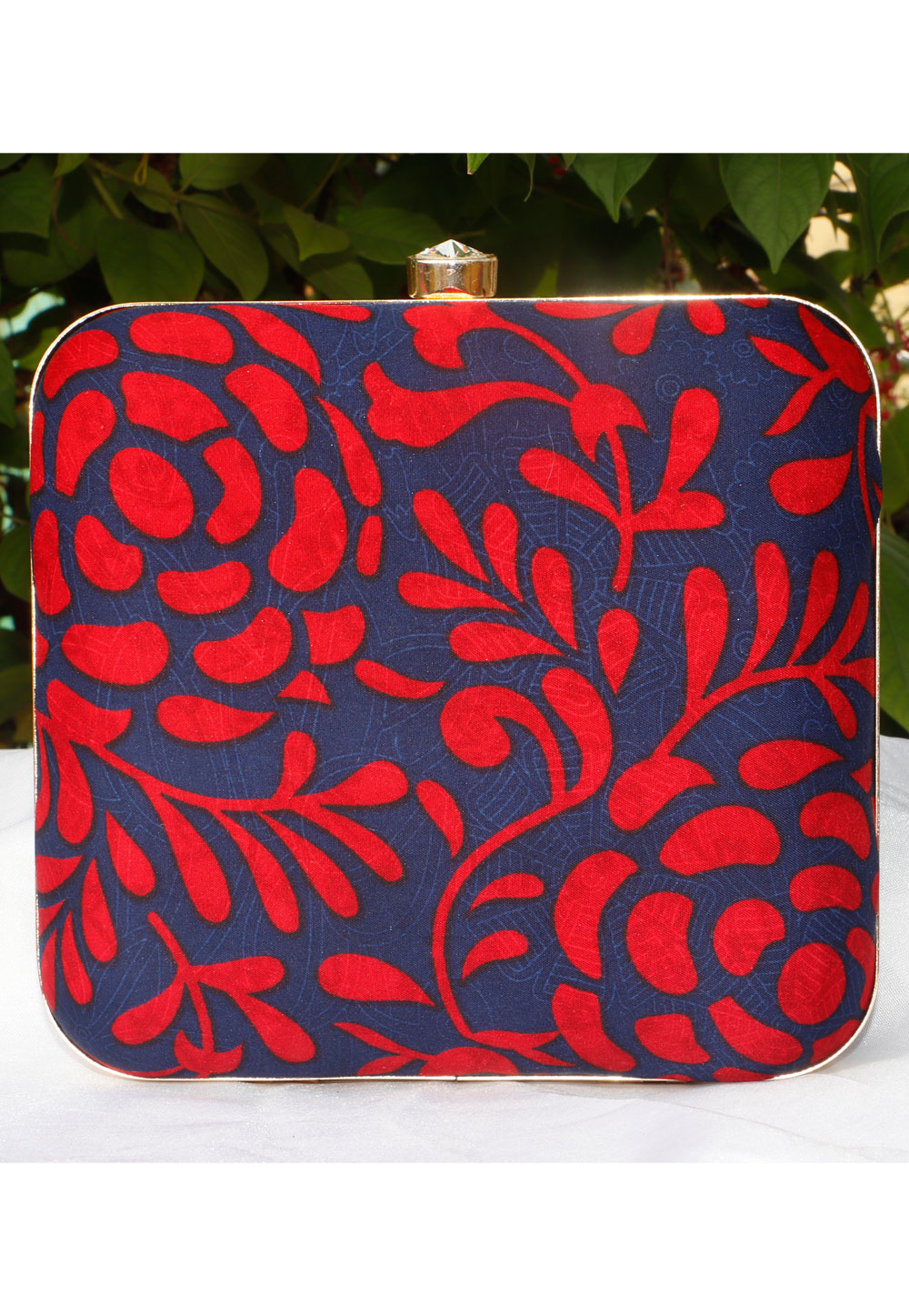 Navy Blue Synthetic Printed Clutch 225686