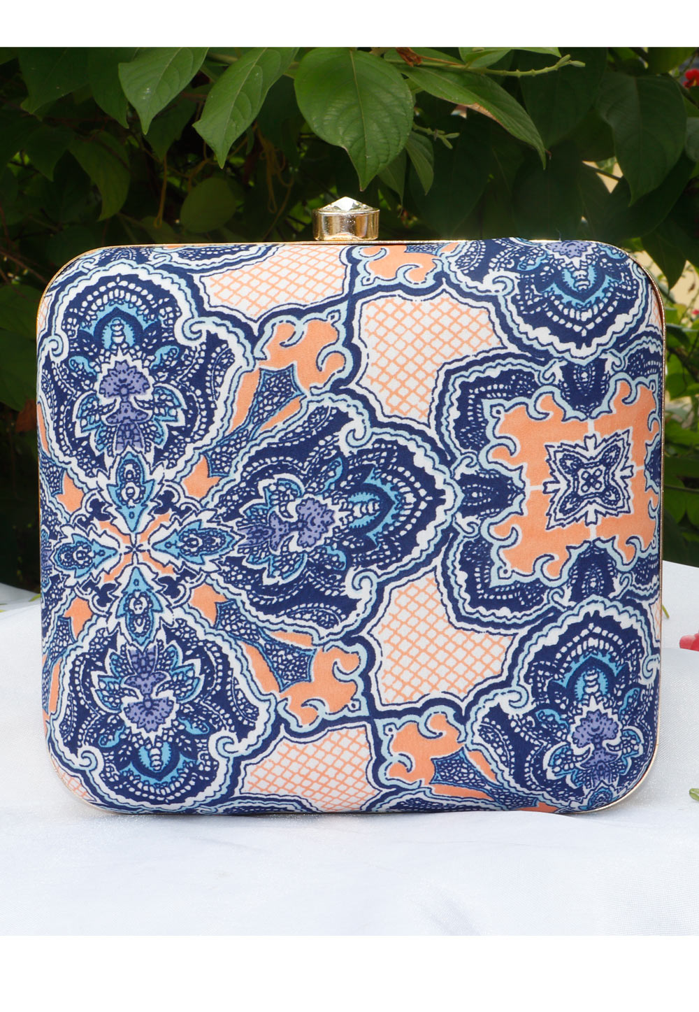 Blue Synthetic Printed Clutch 225693