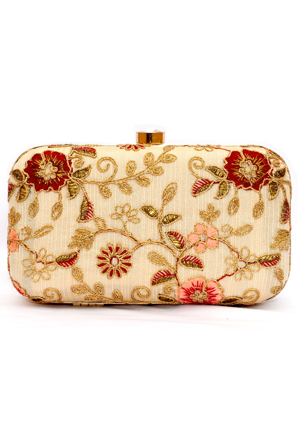 Cream Synthetic Embroidered Clutch 225767