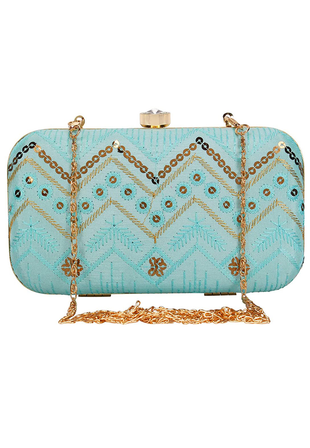 Sky Blue Synthetic Embroidered Clutch 225768