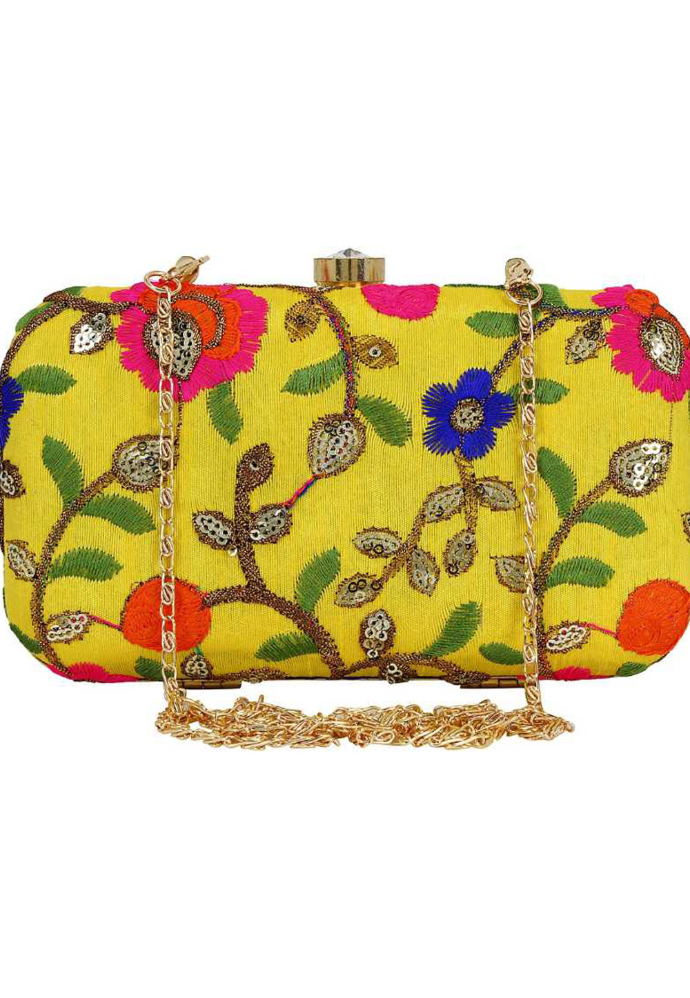 Yellow Synthetic Embroidered Clutch 225769