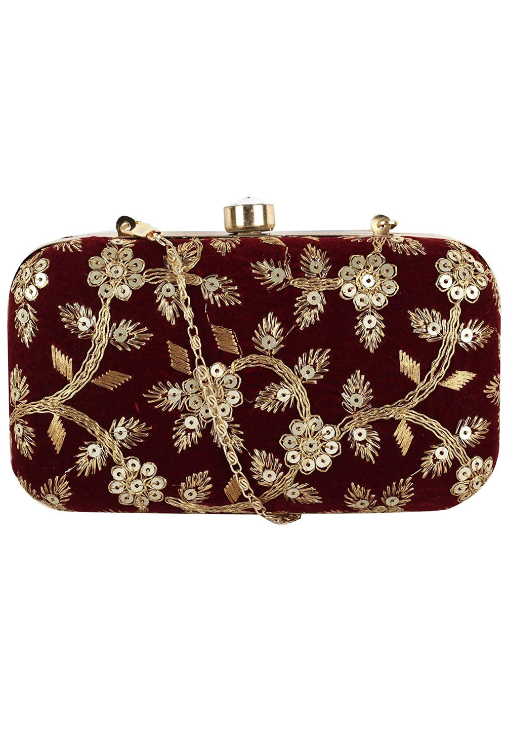 Maroon Synthetic Embroidered Clutch 225770