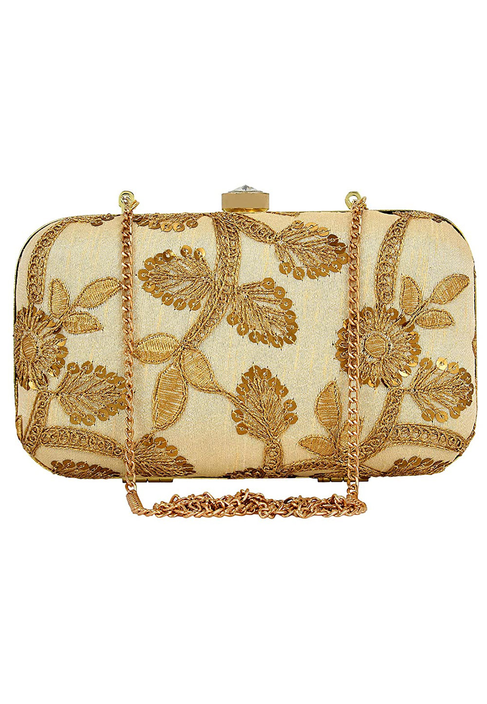 Golden Synthetic Embroidered Clutch 225771