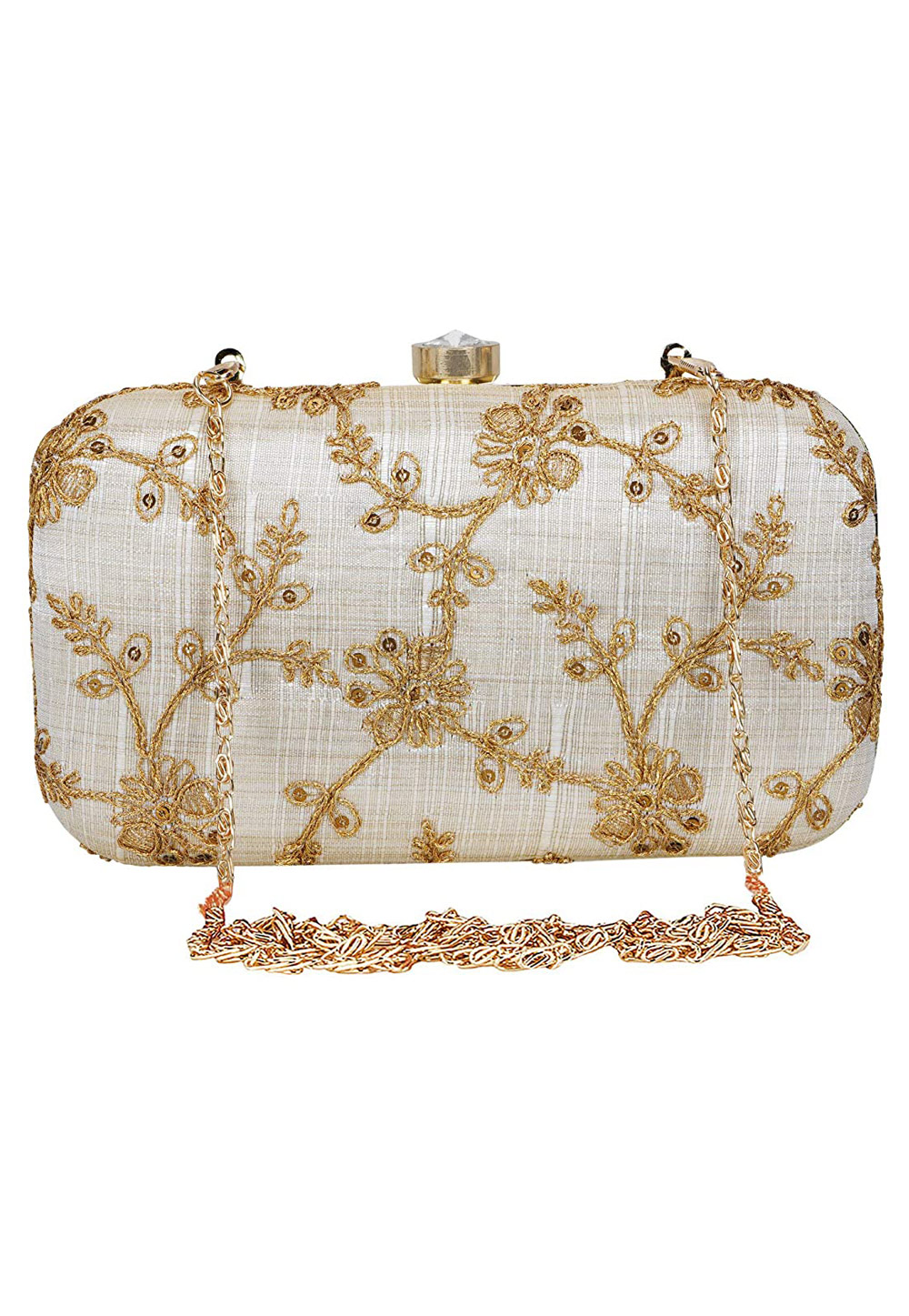 Off White Synthetic Embroidered Clutch 225772