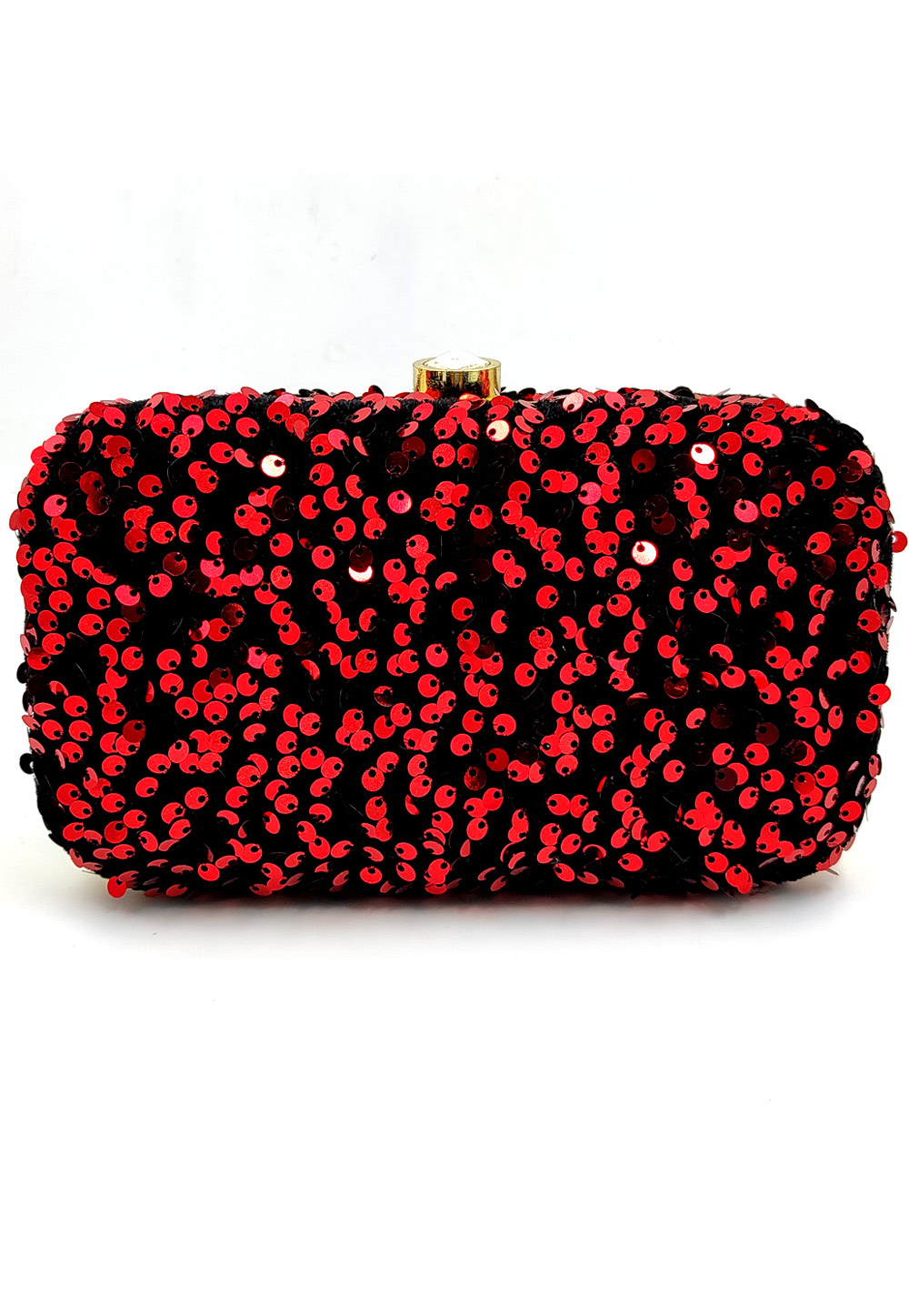 Red Synthetic Embroidered Clutch 225773