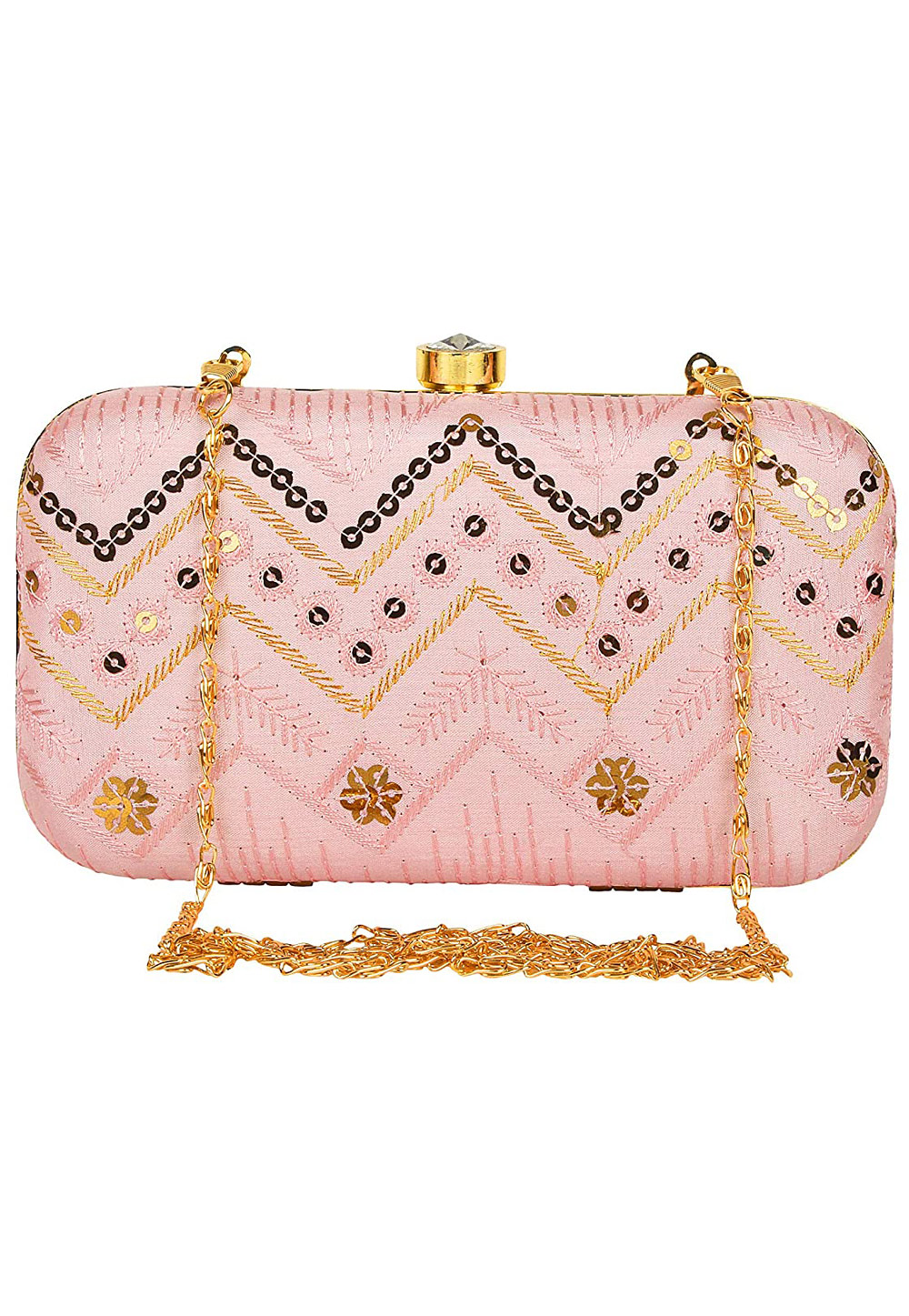 Pink Synthetic Embroidered Clutch 225774