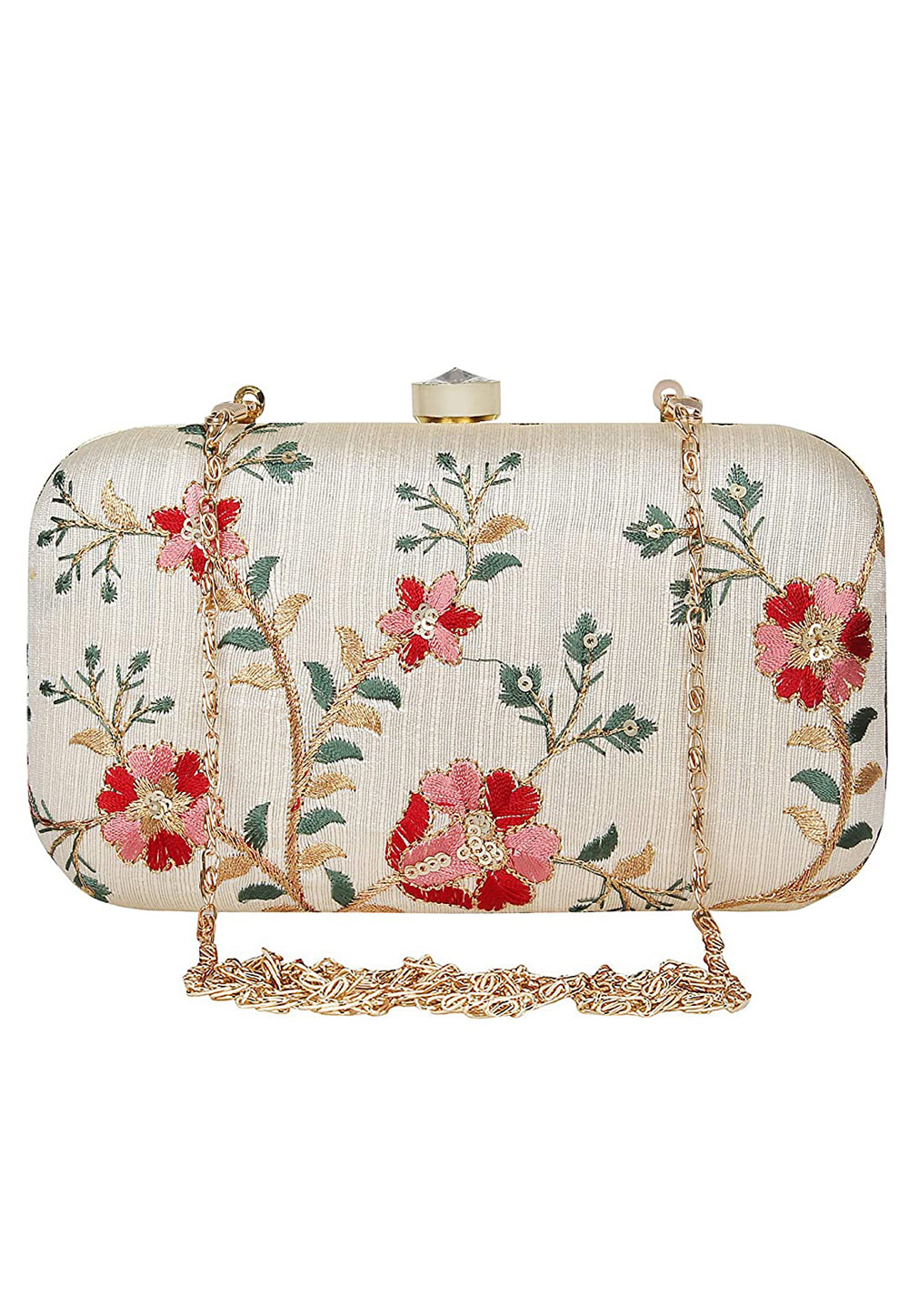Off White Synthetic Embroidered Clutch 225775