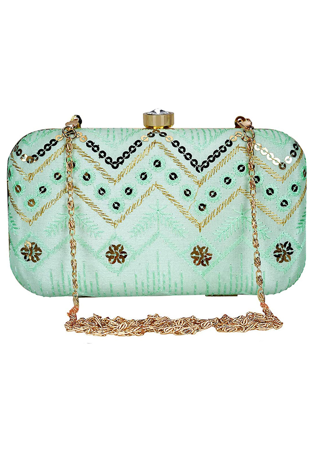 Light Green Synthetic Embroidered Clutch 225776