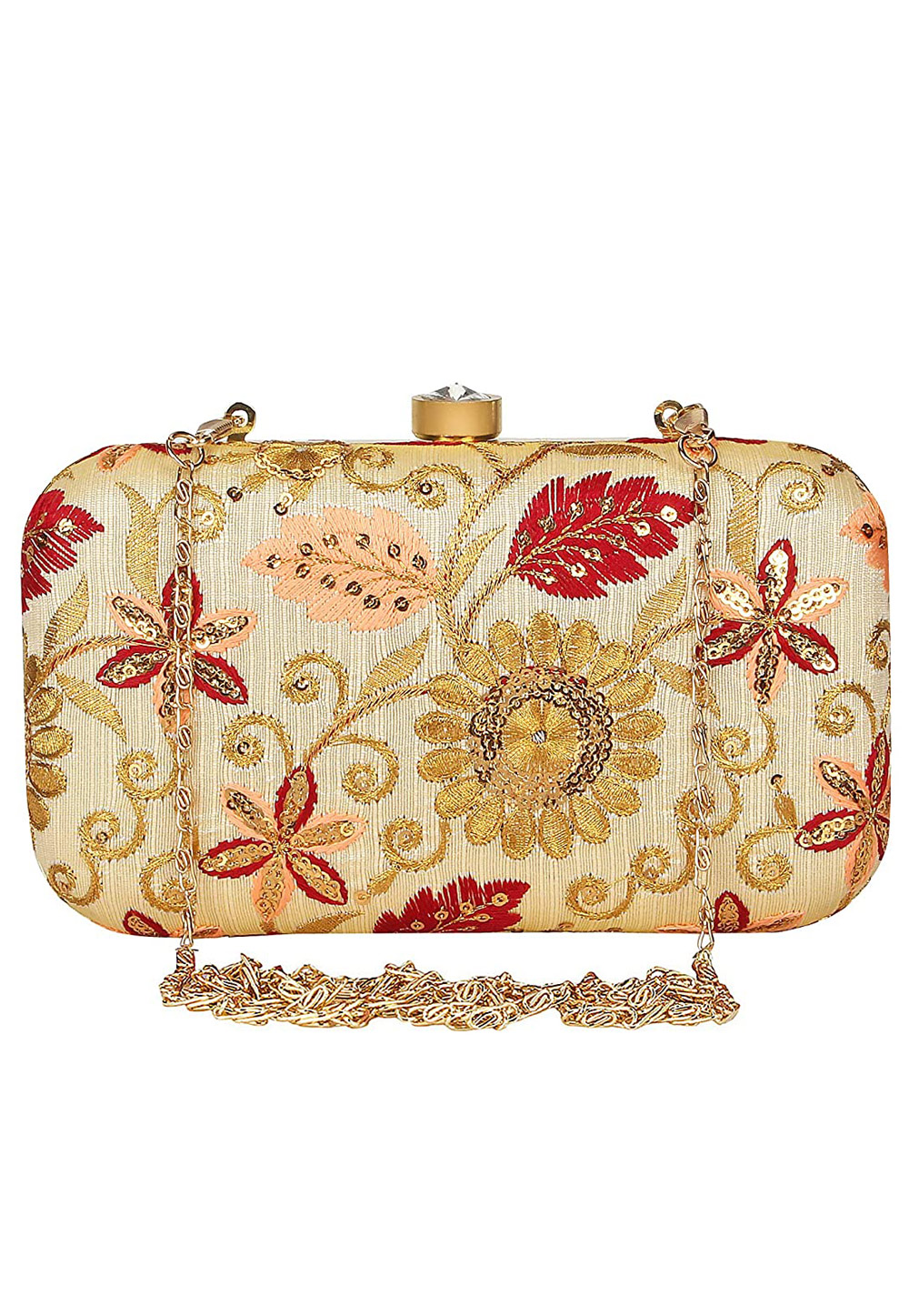 Golden Synthetic Embroidered Clutch 225777