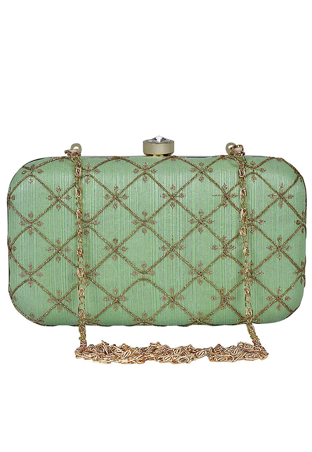 Green Synthetic Embroidered Clutch 225778