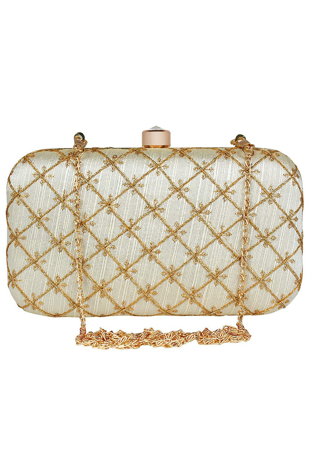 Off White Synthetic Embroidered Clutch 225779