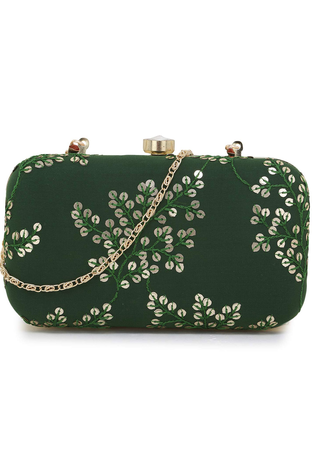 Green Synthetic Embroidered Clutch 225780