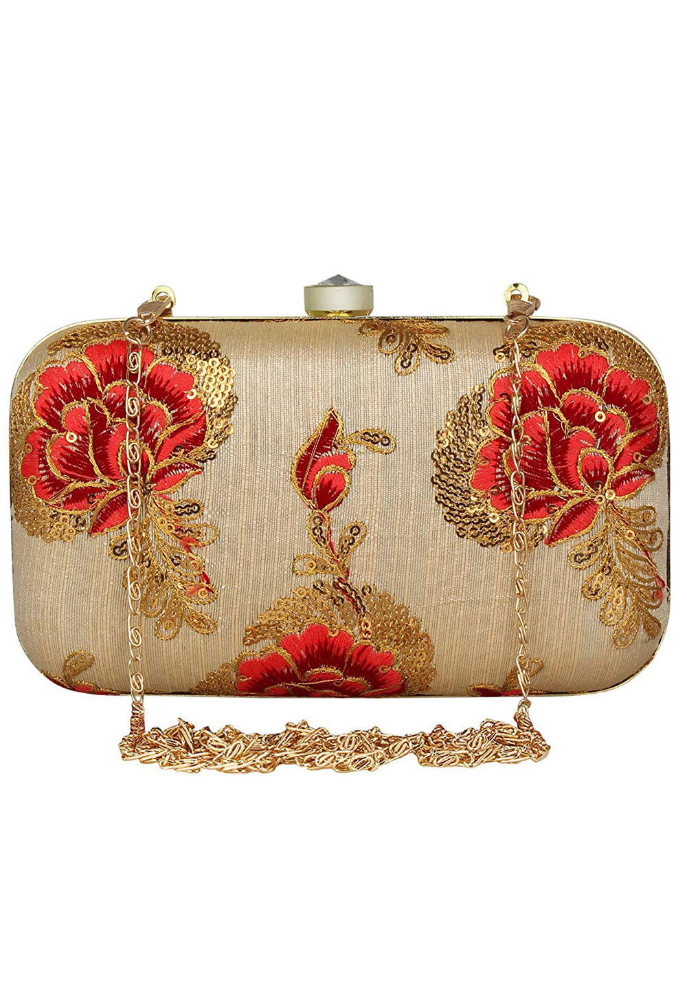 Beige Synthetic Embroidered Clutch 225781