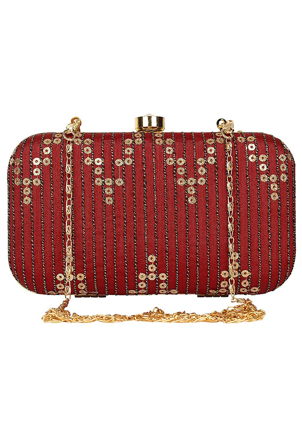 Maroon Synthetic Embroidered Clutch 225782