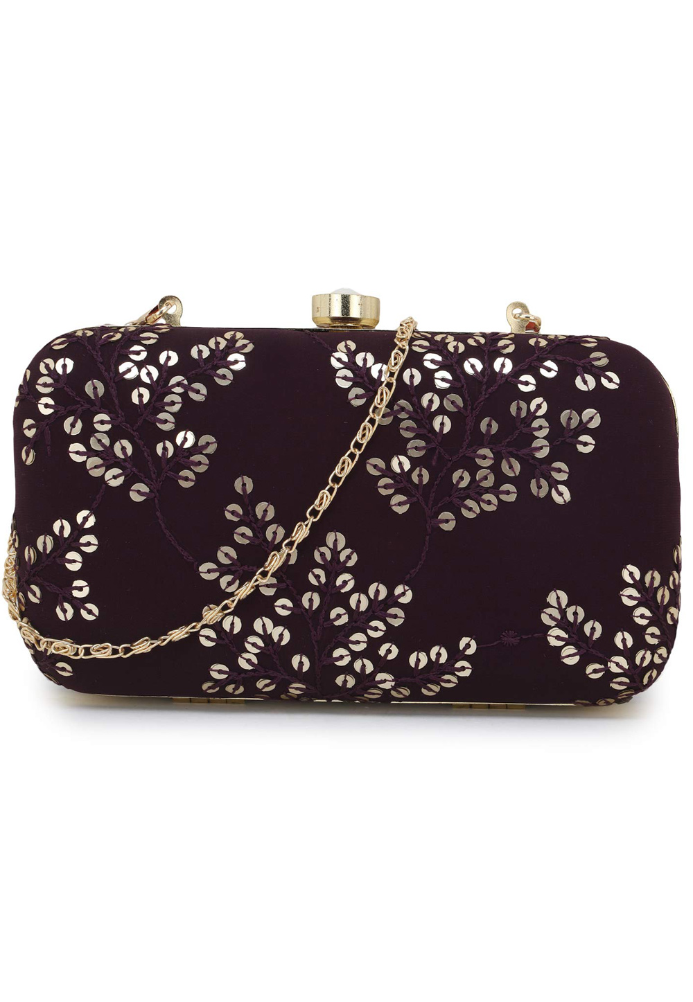 Wine Synthetic Embroidered Clutch 225783