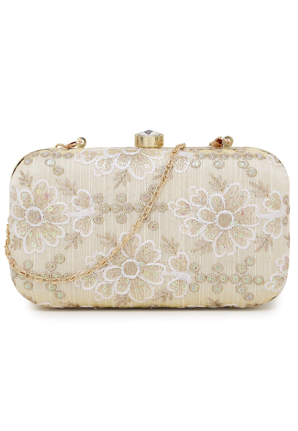 Off White Synthetic Embroidered Clutch 225784