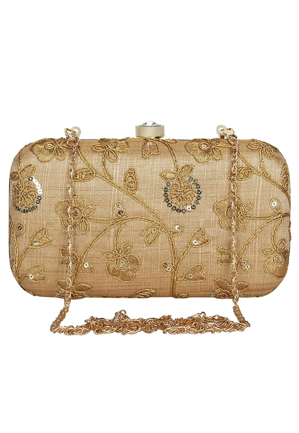 Golden Synthetic Embroidered Clutch 225785