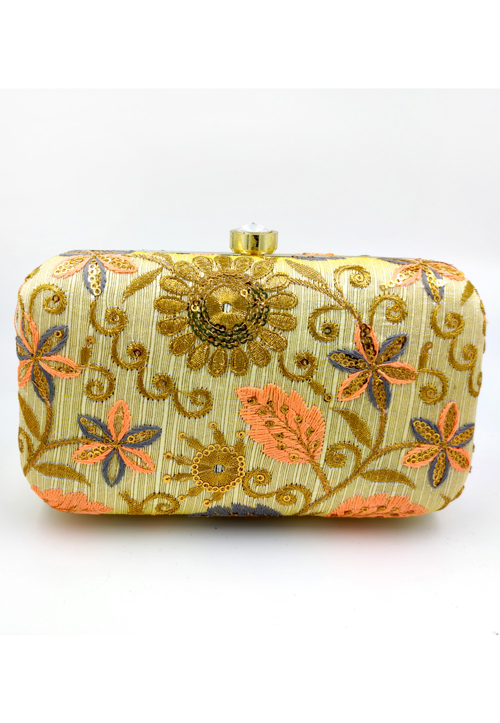 Light Green Synthetic Embroidered Clutch 225786
