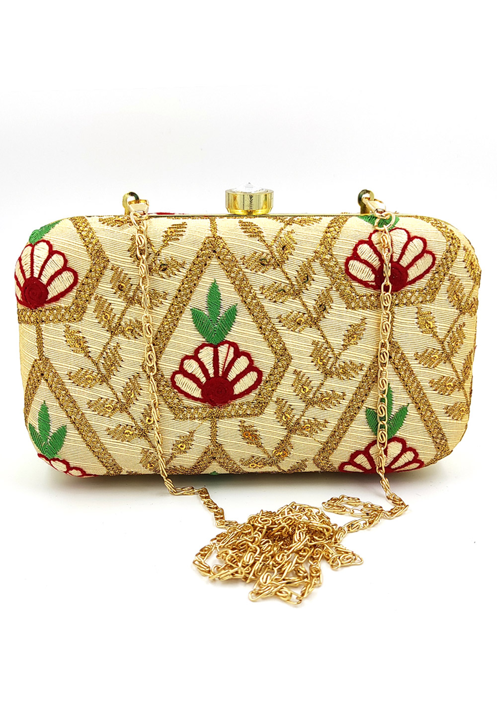 Golden Synthetic Embroidered Clutch 225787