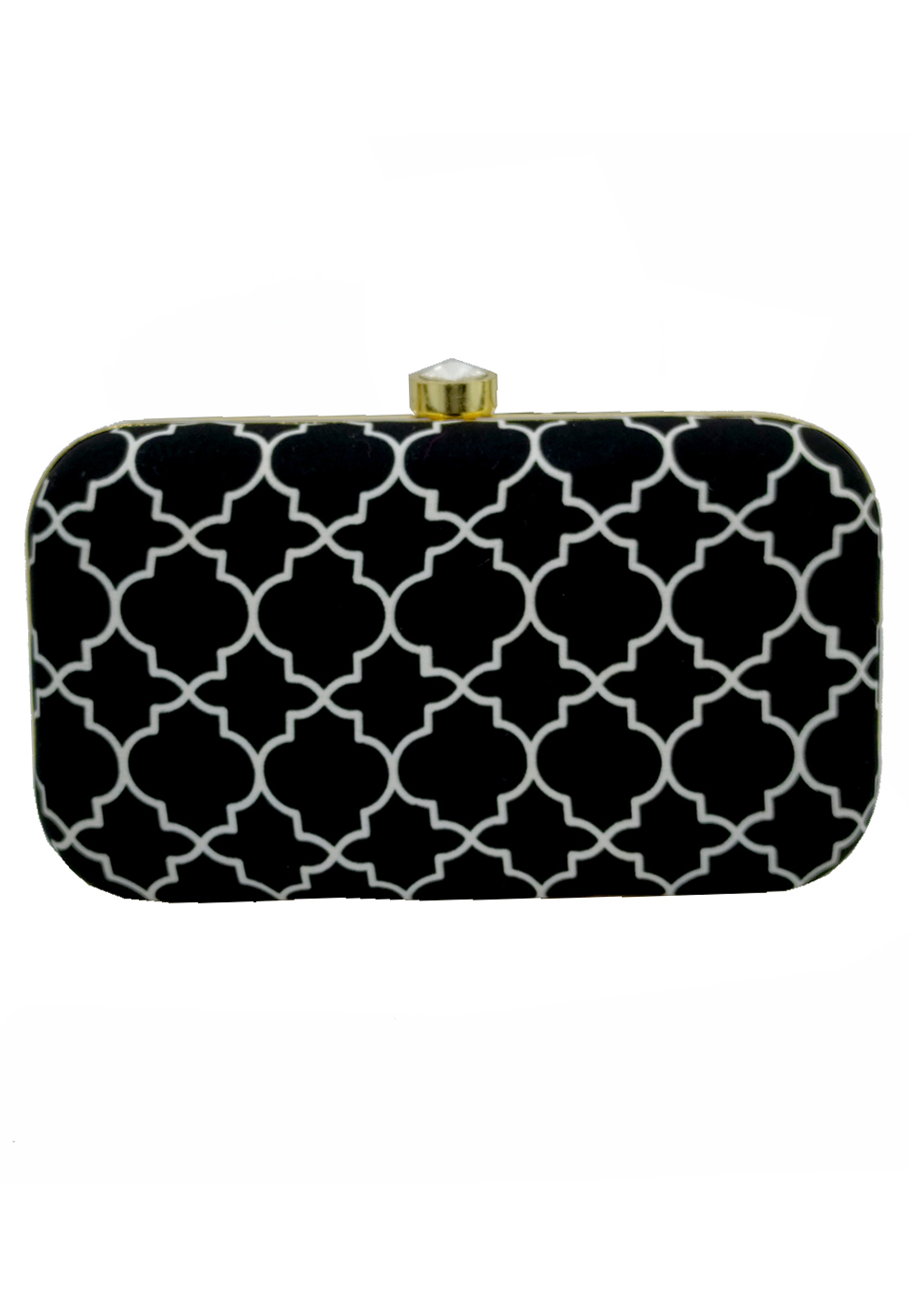Black Synthetic Embroidered Clutch 225789