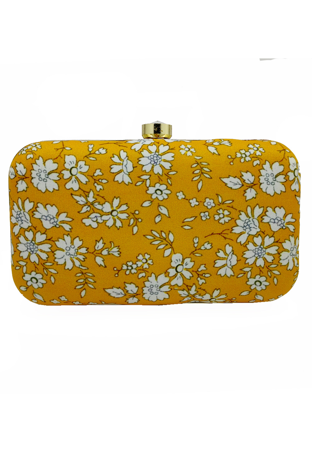 Yellow Synthetic Embroidered Clutch 225791