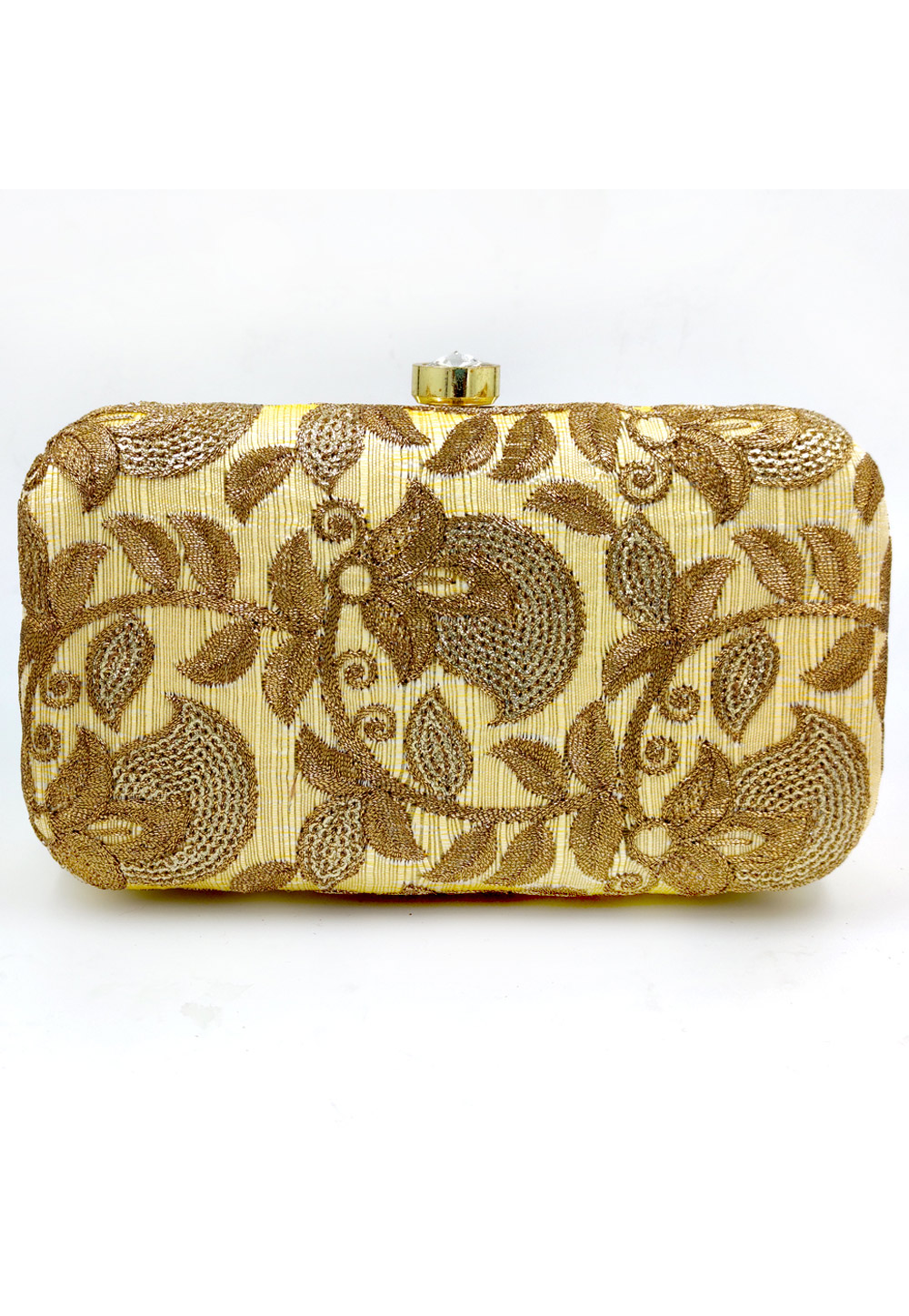 Golden Synthetic Embroidered Clutch 225792