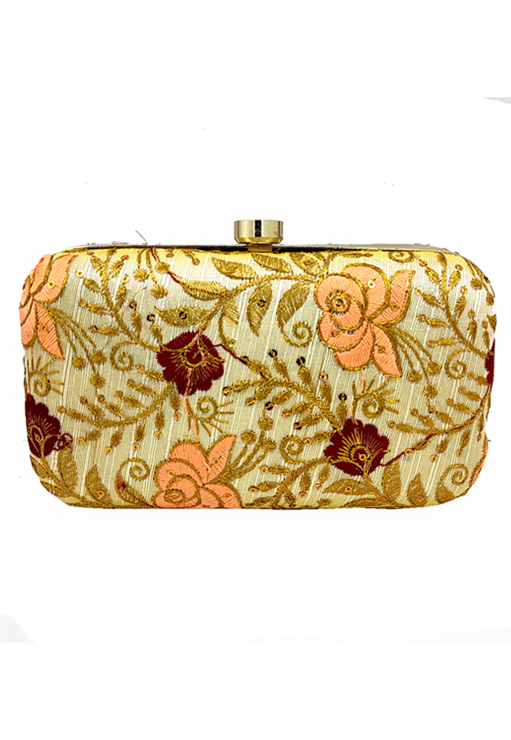 Golden Synthetic Embroidered Clutch 225793
