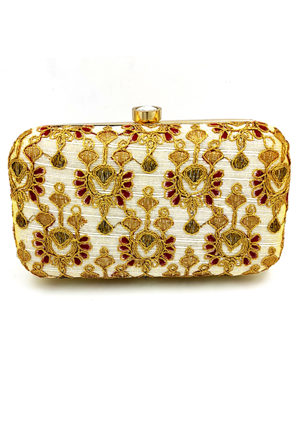 Off White Synthetic Embroidered Clutch 225794