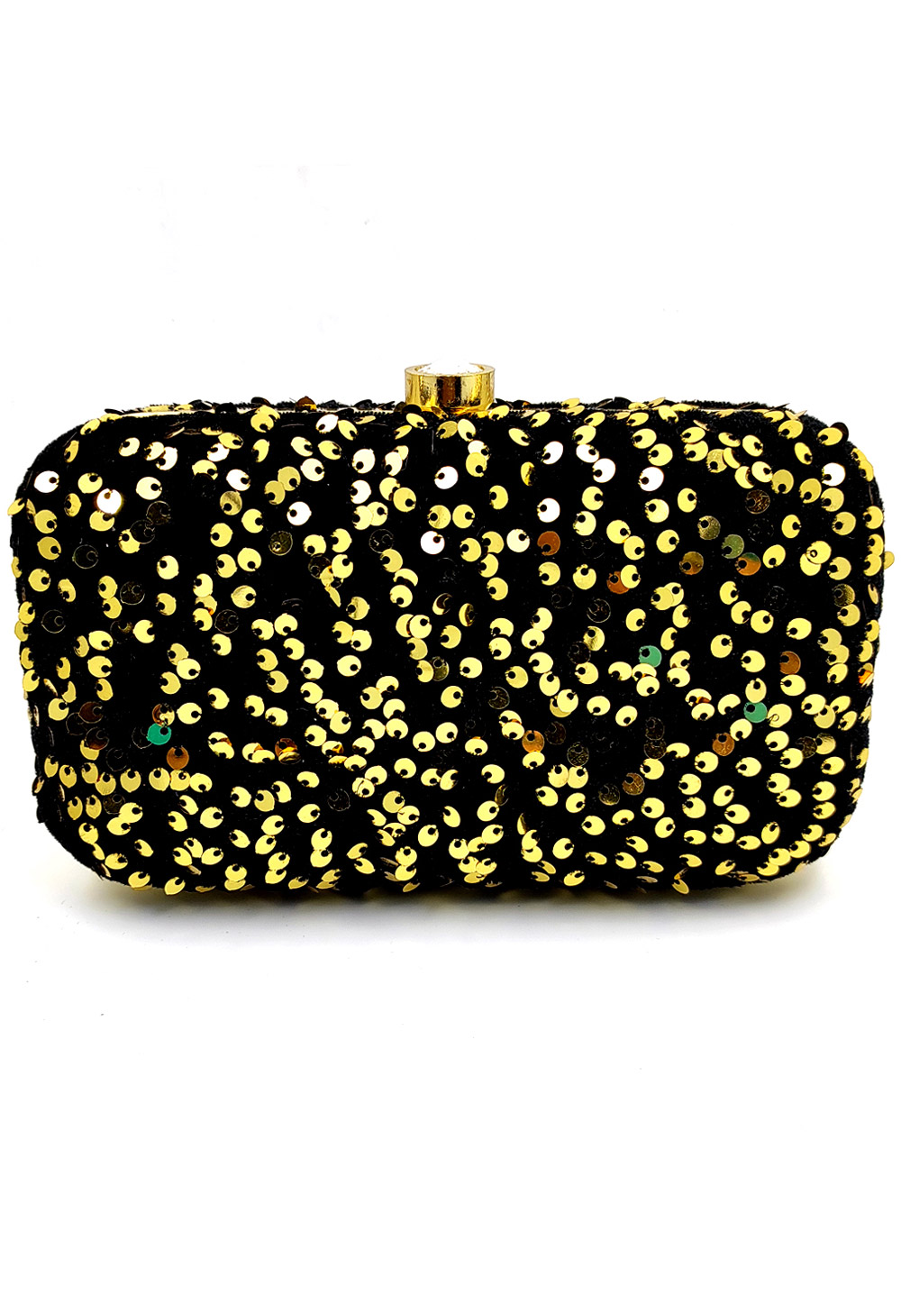 Black Synthetic Embroidered Clutch 225795