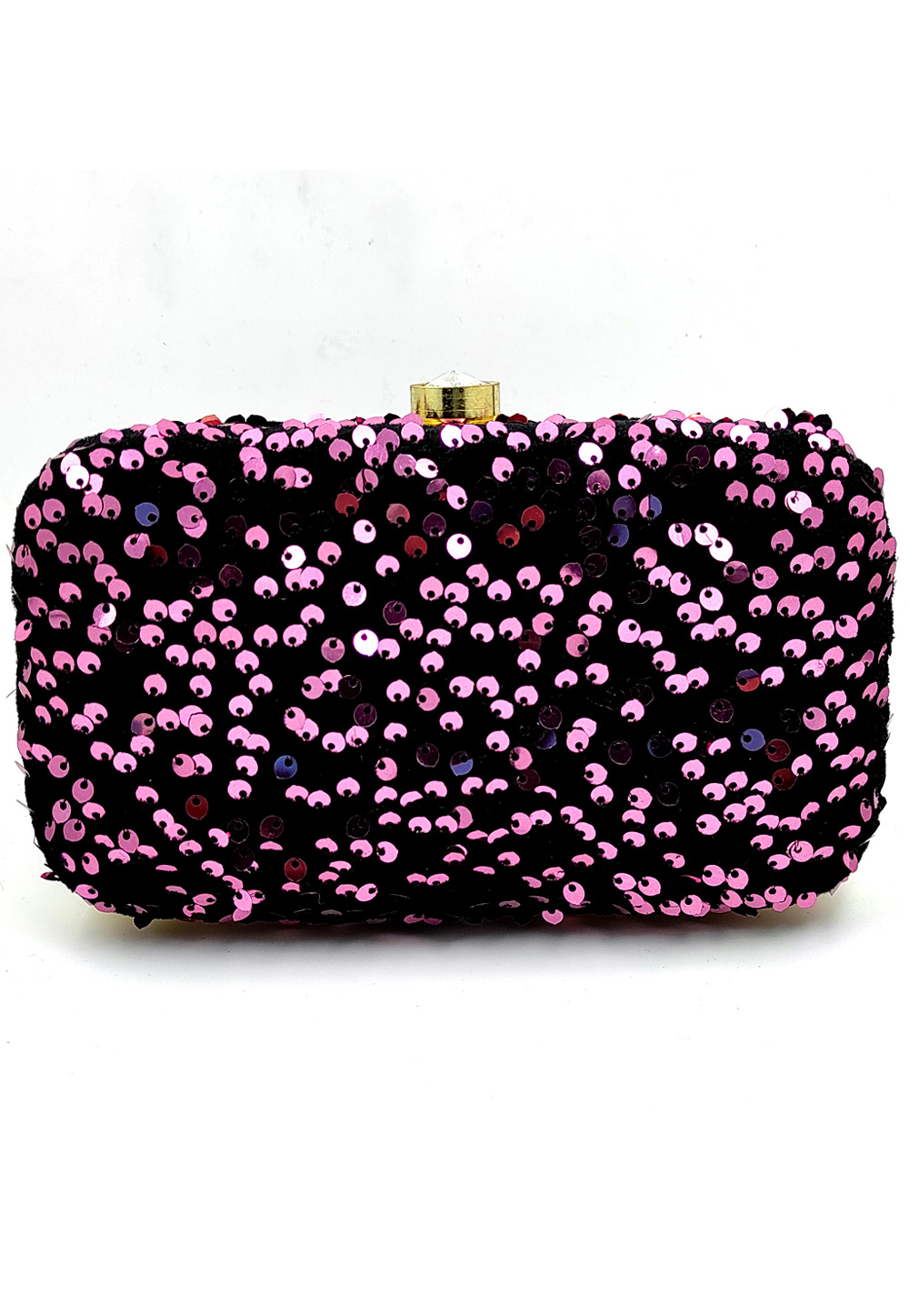 Pink Synthetic Embroidered Clutch 225796