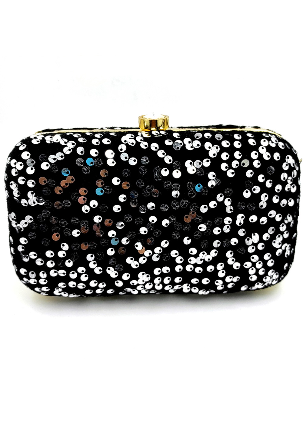 Black Synthetic Embroidered Clutch 225797