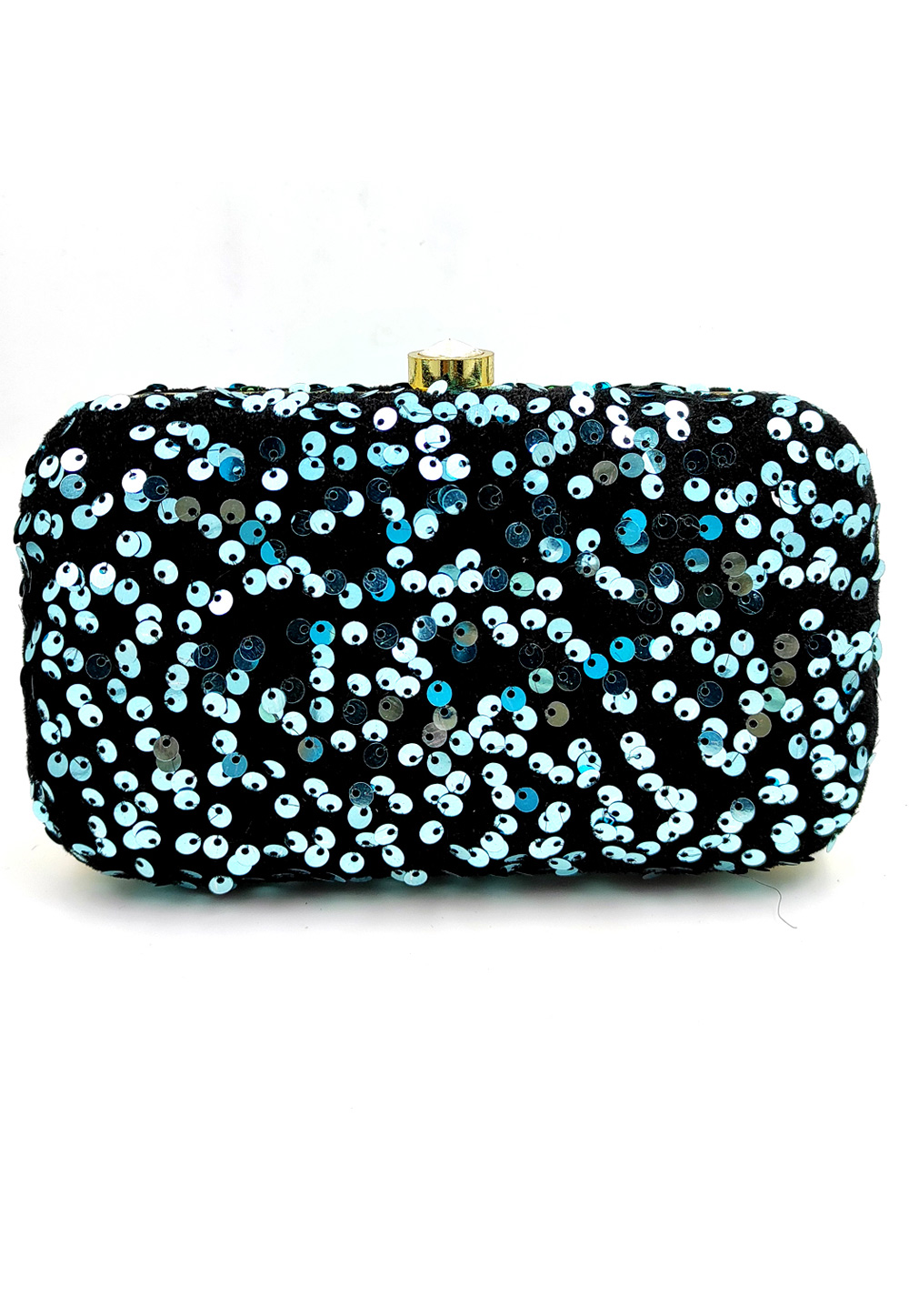 Sky Blue Synthetic Embroidered Clutch 225798