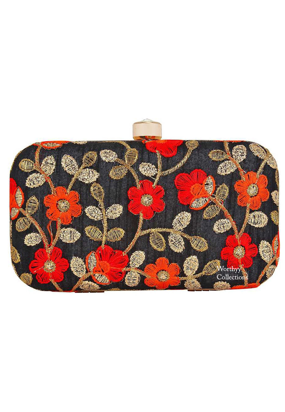 Black Synthetic Embroidered Clutch 225799