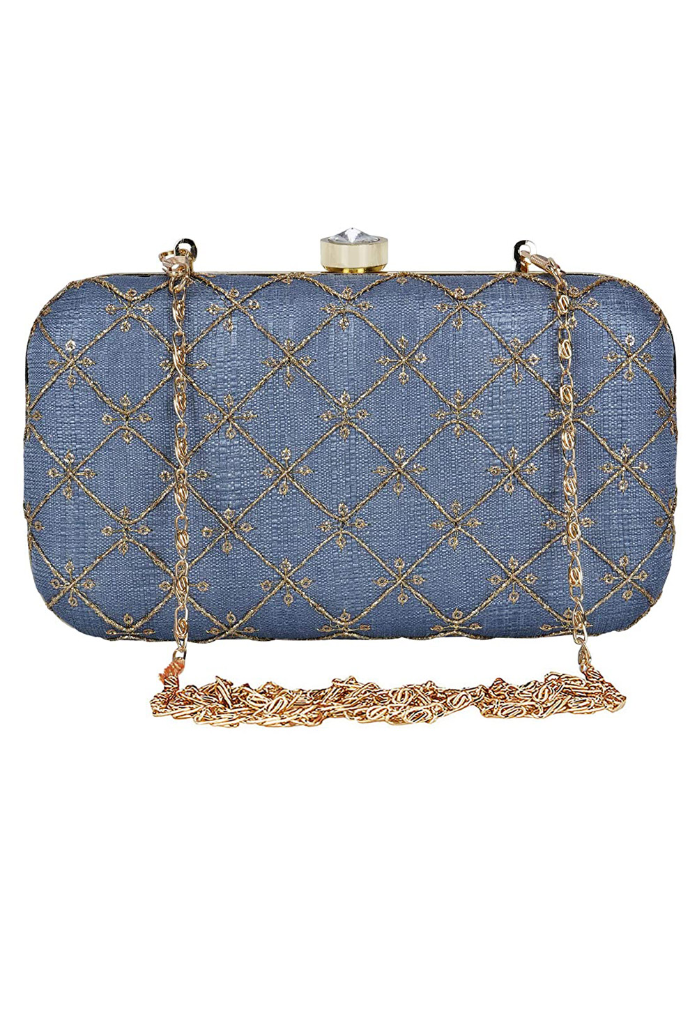 Blue Synthetic Embroidered Clutch 225802